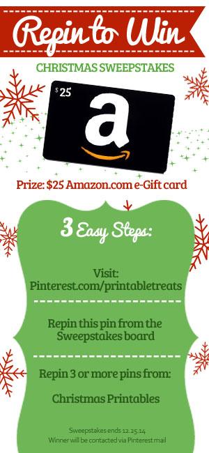 Printable Treats 2014 Christmas Sweepstakes Repin to Win from PrintableTreats.com