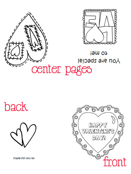 printable valentines cards to color