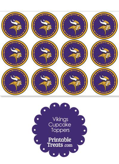 Printable Vikings Logo Cupcake Toppers from PrintableTreats.com