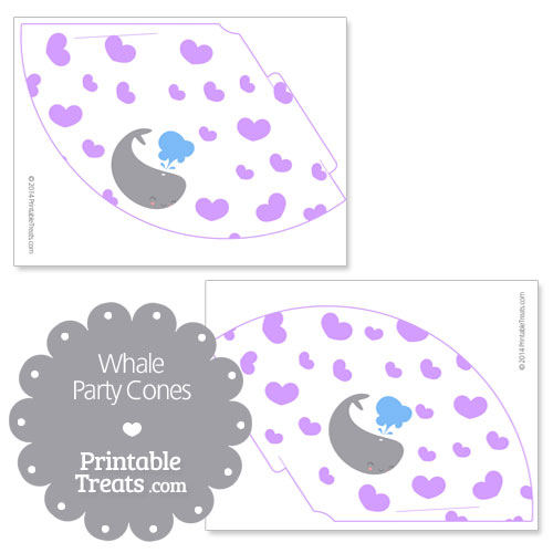 printable whale party cones in purple