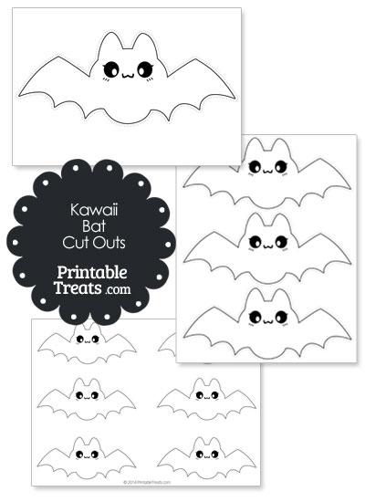 Printable White Kawaii Bat Cut Outs from PrintableTreats.com