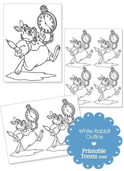 Printable White Rabbit Outline from PrintableTreats.com