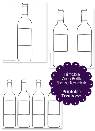 Printable Wine Bottle Shape Template from PrintableTreats.com