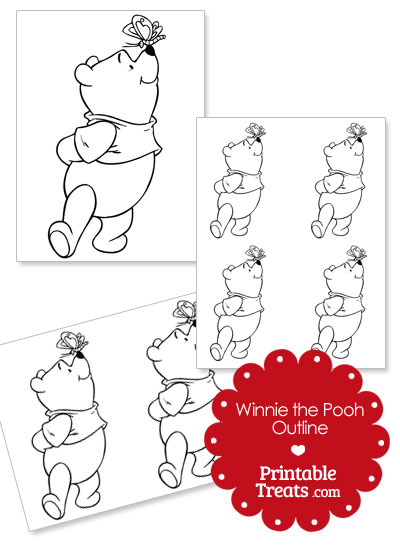 Printable Winnie the Pooh and Butterfly Outline from PrintableTreats.com