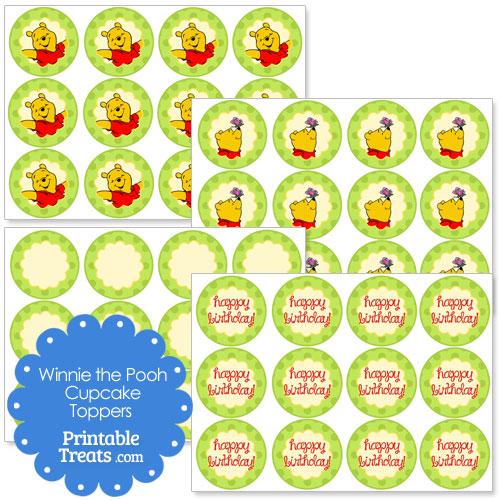printable Winnie the Pooh cupcake toppers
