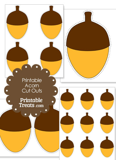 Printable Yellow Acorn Cut Outs from PrintableTreats.com