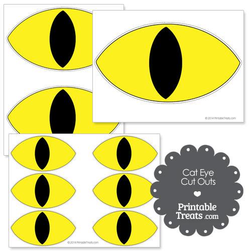 printable yellow cat eye cut outs