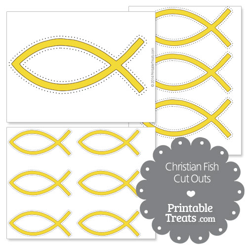 printable yellow Christian fish cut outs