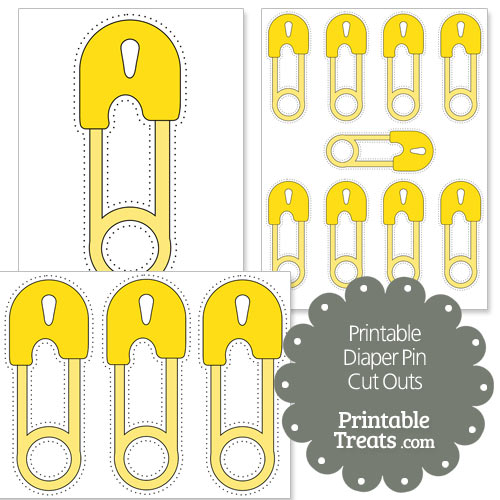 printable yellow diaper pin cut outs