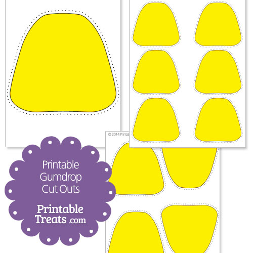 printable yellow gumdrop cut outs