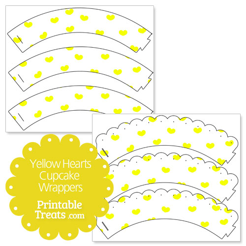 printable yellow hearts cupcake wrappers