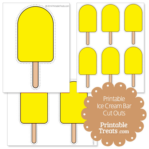 printable yellow ice cream bar cut outs