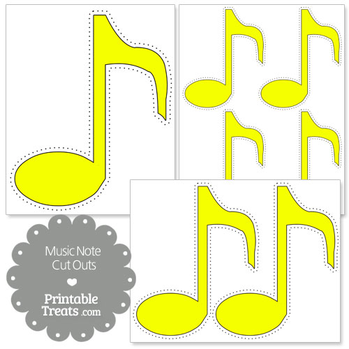 printable yellow music note cut outs