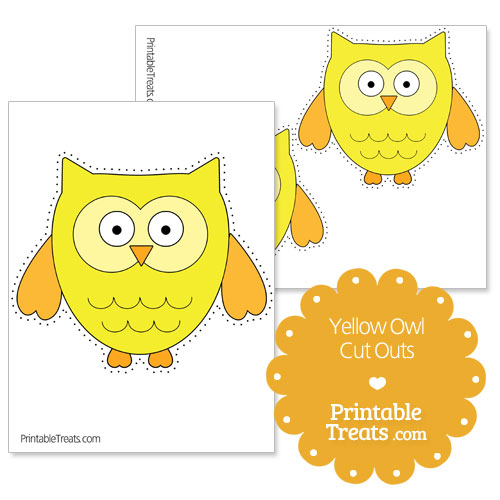 printable yellow owl cut outs