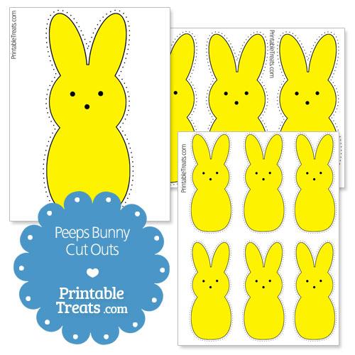 printable yellow peeps bunny cut outs