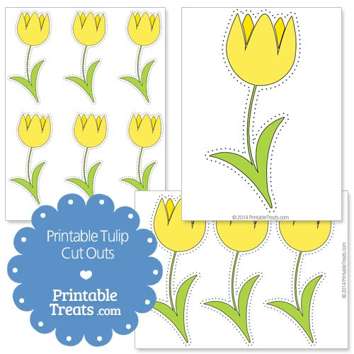 printable yellow tulip cut outs