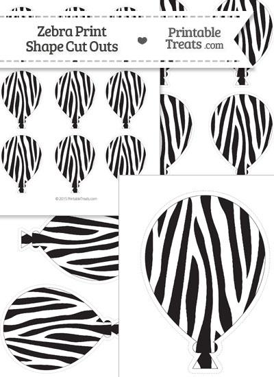 Printable Zebra Print Balloon Cut Outs from PrintableTreats.com