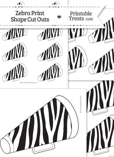 Printable Zebra Print Cheer Megaphone Cut Outs from PrintableTreats.com