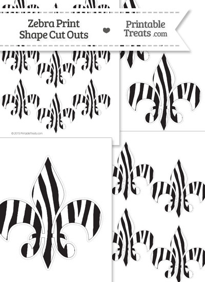 Printable Zebra Print Fleur de Lis Cut Outs from PrintableTreats.com