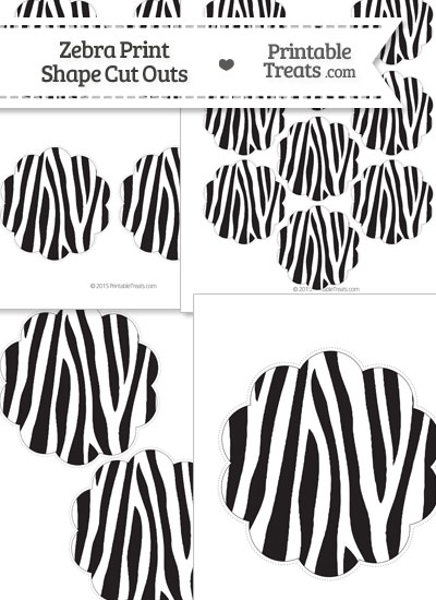 Printable Zebra Print Flower Circle Cut Outs from PrintableTreats.com