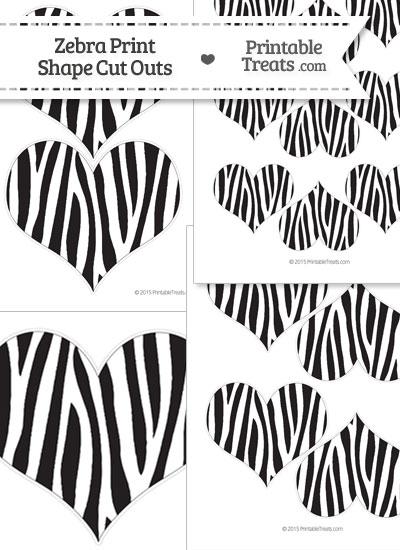 Printable Zebra Print Heart Cut Outs from PrintableTreats.com