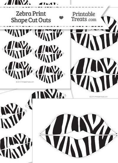 Printable Zebra Print Lips Cut Outs from PrintableTreats.com