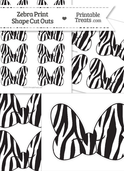 Printable Zebra Print Minnie Mouse Bow Cut Outs from PrintableTreats.com