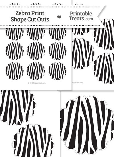Printable Zebra Print Scalloped Circle Cut Outs from PrintableTreats.com