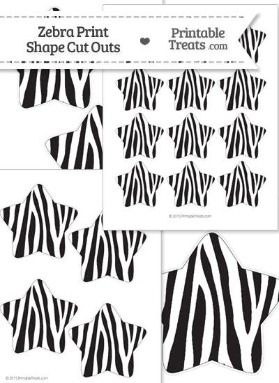 Printable Zebra Print Star Cut Outs from PrintableTreats.com