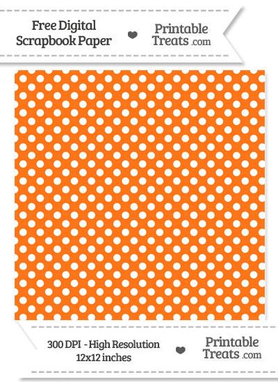 Pumpkin Orange Polka Dot Digital Paper from PrintableTreats.com