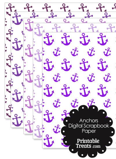 Purple Anchor Digital Scrapbook Paper from PrintableTreats.com