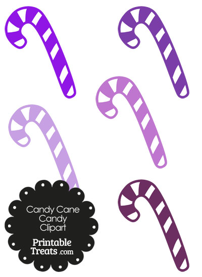 Purple and White Candy Cane Clipart from PrintableTreats.com