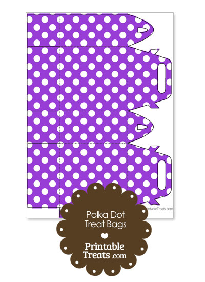 Purple and White Polka Dot Treat Bags to Print from PrintableTreats.com