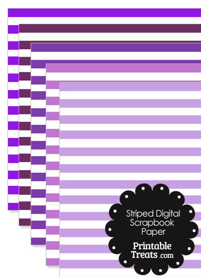 Purple and White Striped Digital Scrapbook Paper from PrintableTreats.com