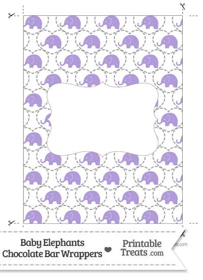 Purple Baby Elephants Chocolate Bar Wrappers from PrintableTreats.com