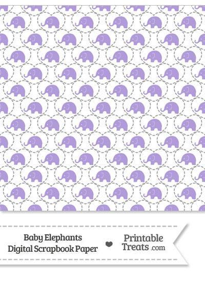 Purple Baby Elephants Digital Scrapbook Paper from PrintableTreats.com