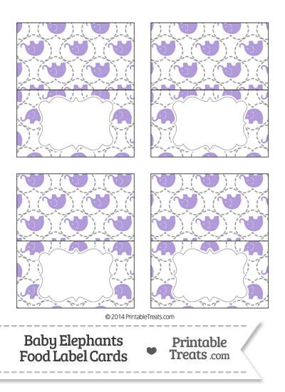 Purple Baby Elephants Food Labels from PrintableTreats.com