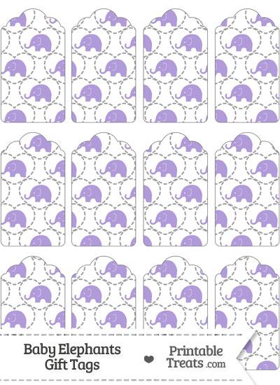 Purple Baby Elephants Gift Tags from PrintableTreats.com