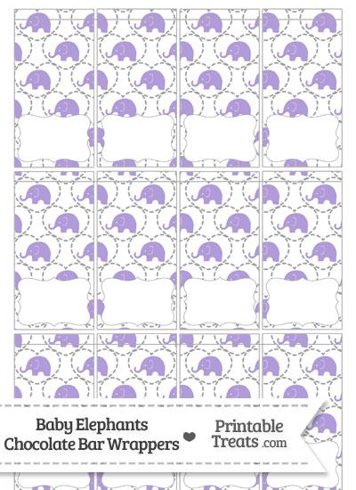 Purple Baby Elephants Mini Chocolate Bar Wrappers from PrintableTreats.com