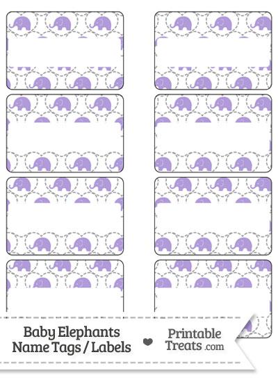 Purple Baby Elephants Name Tags from PrintableTreats.com