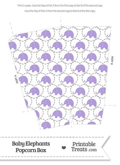 Purple Baby Elephants Popcorn Box from PrintableTreats.com