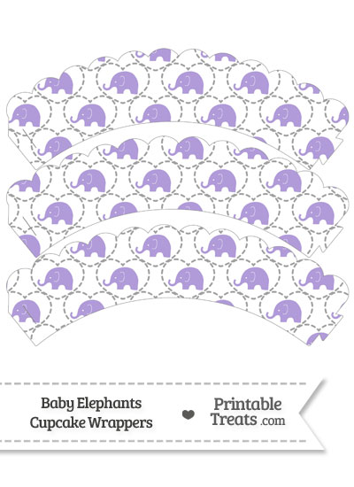 Purple Baby Elephants Scalloped Cupcake Wrappers from PrintableTreats.com