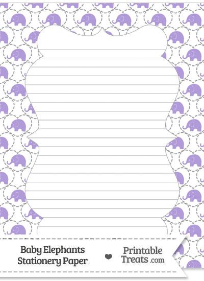 Purple Baby Elephants Stationery Paper from PrintableTreats.com