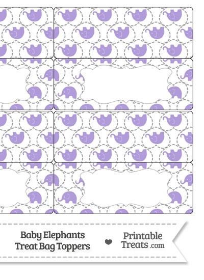 Purple Baby Elephants Treat Bag Toppers from PrintableTreats.com