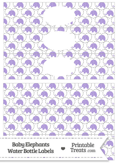 Purple Baby Elephants Water Bottle Wrappers from PrintableTreats.com