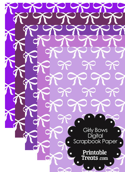 Purple Background Girly Bow Digital Scrapbook Paper from PrintableTreats.com