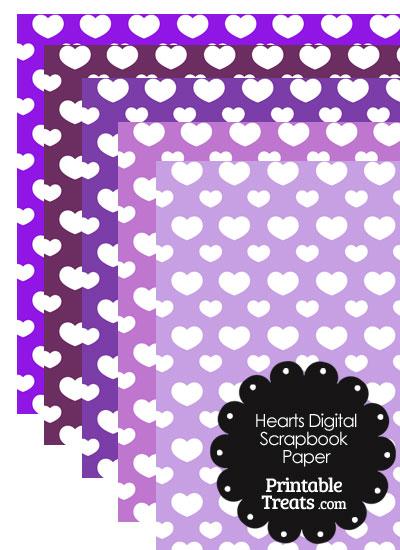 Purple Background Heart Digital Scrapbook Paper from PrintableTreats.com