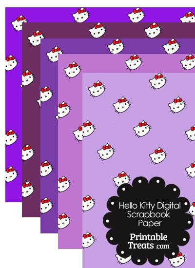 Purple Background Hello Kitty Digital Scrapbook Paper from PrintableTreats.com