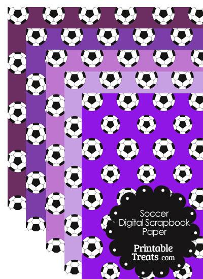 Purple Background Soccer Digital Scrapbook Paper from PrintableTreats.com