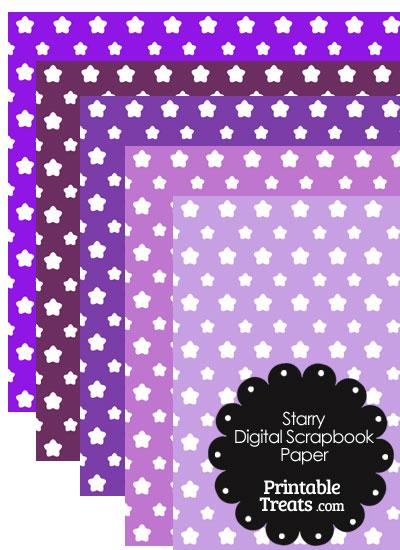 Purple Background Star Digital Scrapbook Paper from PrintableTreats.com